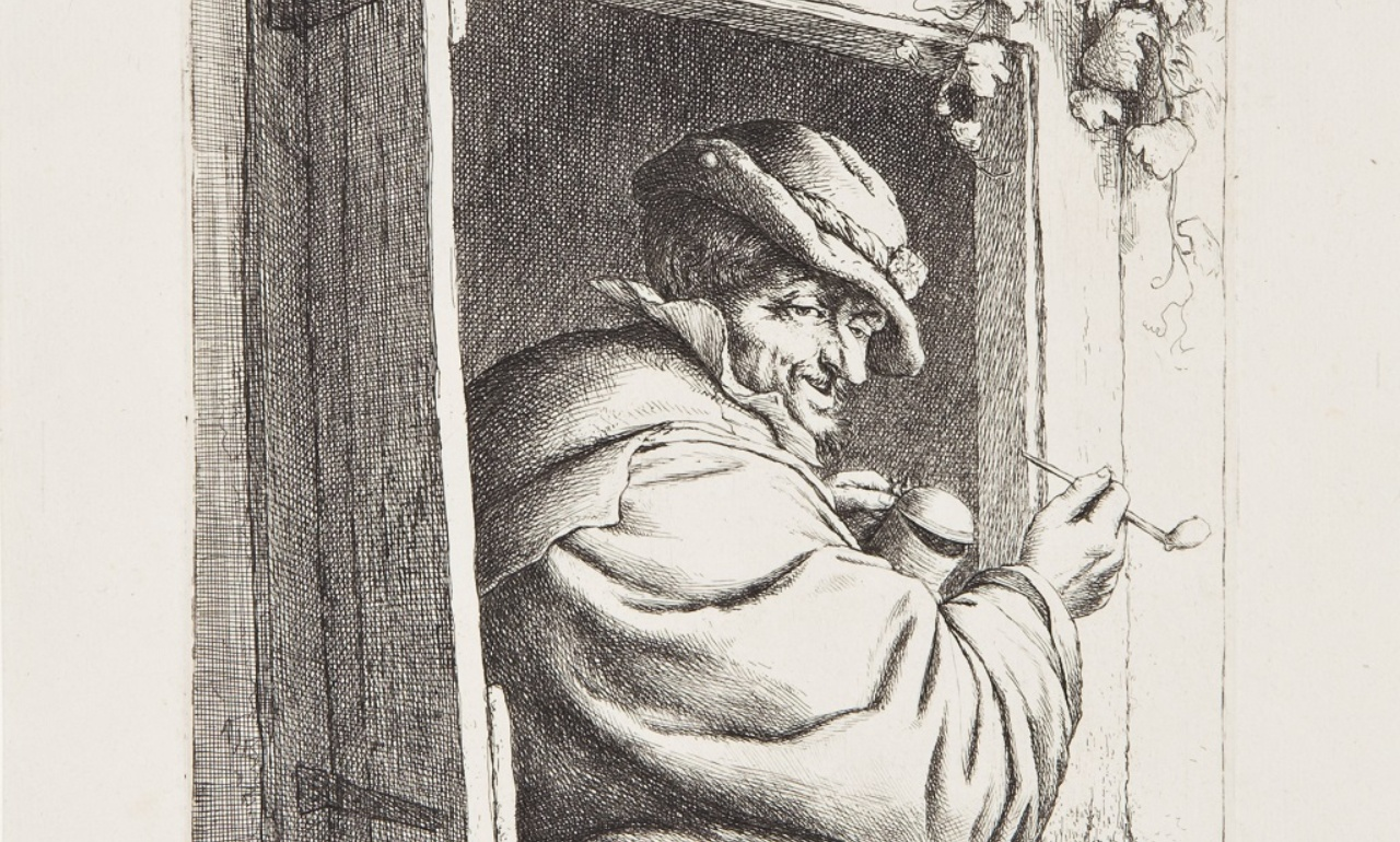 Adriaen van Ostade, <i>Smoker on window</i>, 1667