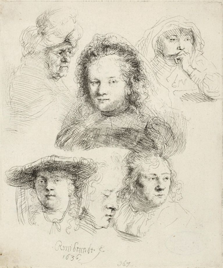 Rembrandt, <i>Sketch of six woman's heads</i>, 1636