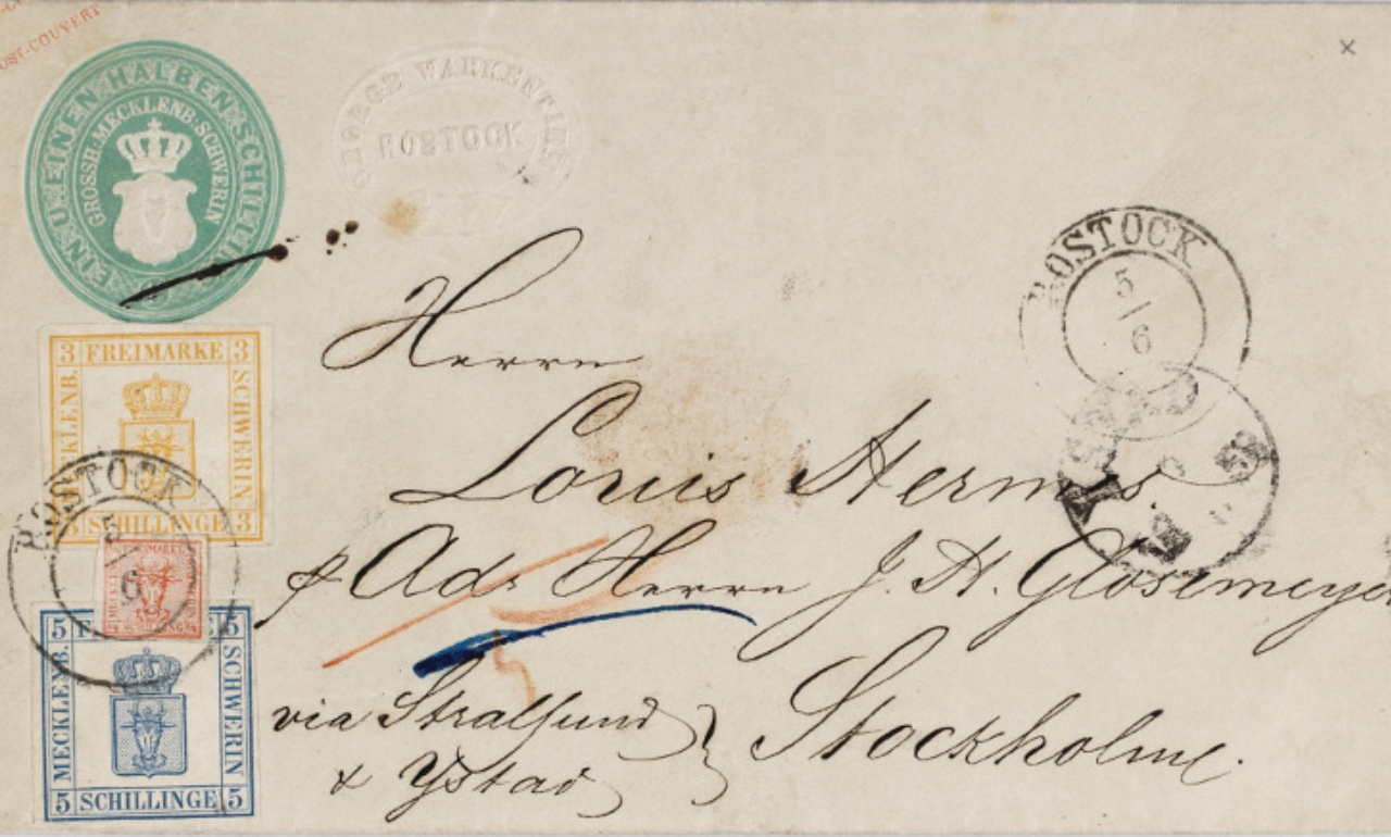 Coloured mixed franking of the first edition of Mecklenburg stamps on a foreign letter, 1856