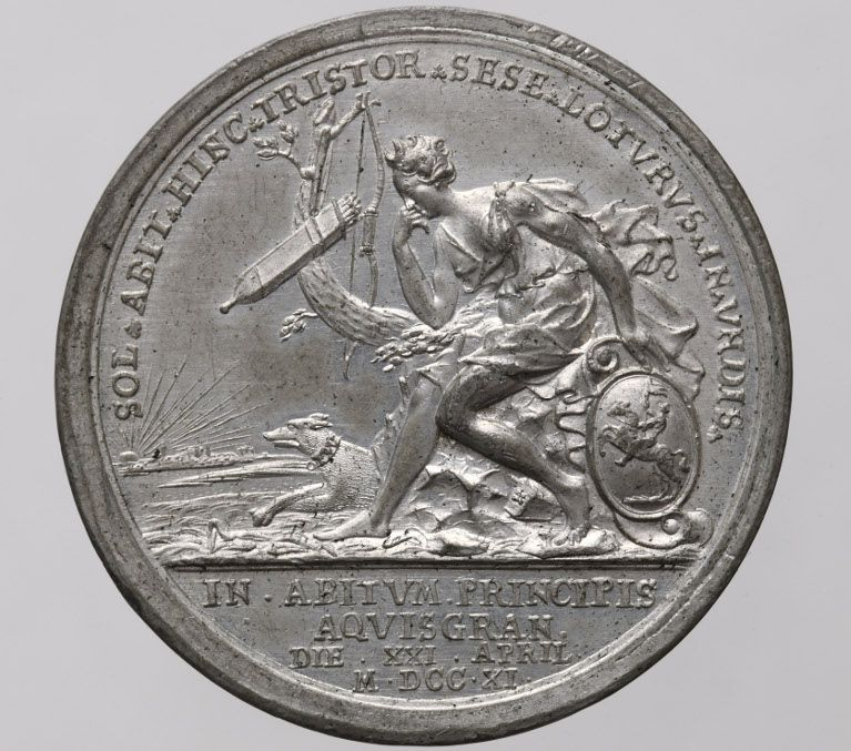 Friedrich Wilhelm, Duke of Mecklenburg-Schwerin, medal 1711 on his journey to Aachen, front
